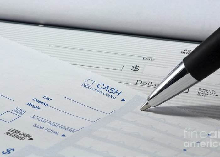 Account Greeting Card featuring the photograph Filling Out Deposit Slip by Blink Images