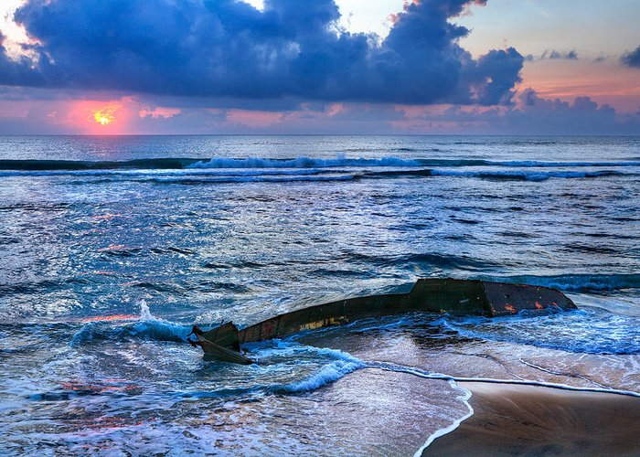 Outer Banks Greeting Card featuring the photograph Final Sunrise - Beached Boat On The Outer Banks by Dan Carmichael