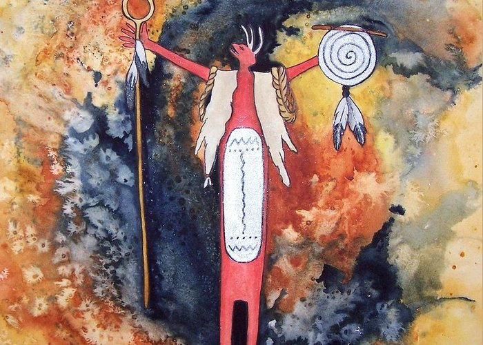 Southwest Greeting Card featuring the painting Fire And Brimstone by Karen Casciani