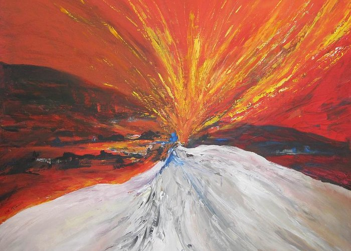 Fire Greeting Card featuring the painting Fire And Ice by Liz McQueen