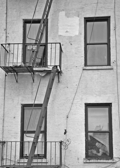 Black And White Greeting Card featuring the photograph Fire Escape by Tyler Estes