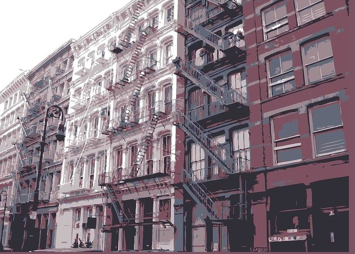 New York City Fire Escapes Greeting Card featuring the photograph Fire Escapes Color 6 by Scott Kelley