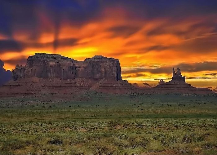 Utah Greeting Card featuring the photograph Fire In The Sky Over The Valley by Renee Hardison