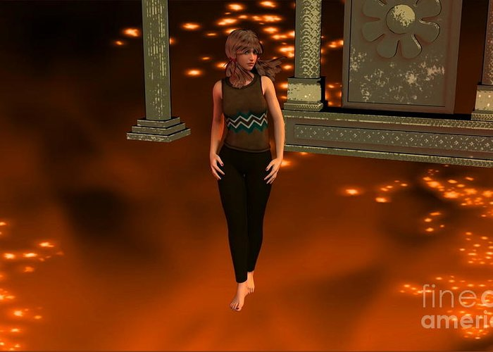 Fire Lady Wall Greeting Card featuring the digital art Fire Lady by Stanley Morganstein