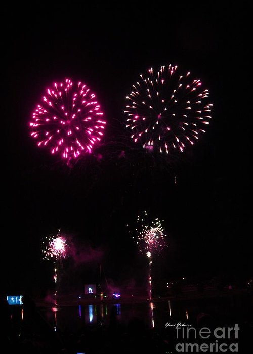 Fire Works Greeting Card featuring the photograph Fire Works by Yumi Johnson
