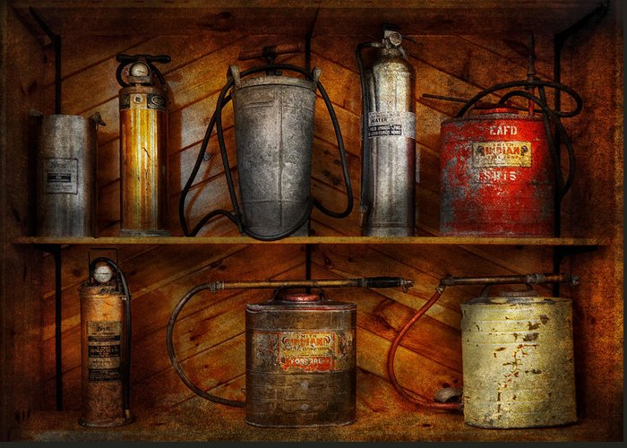 Hdr Greeting Card featuring the photograph Fireman - Fire Control by Mike Savad