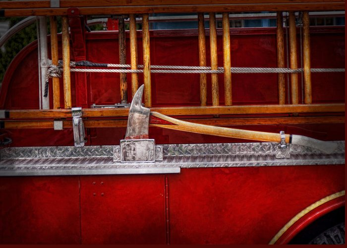 Hdr Greeting Card featuring the photograph Fireman - Nice Axe by Mike Savad