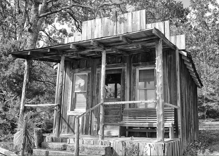 Fireman Cottage -ouachita Mountains Greeting Card featuring the photograph Fireman Cottage B And W by Douglas Barnard