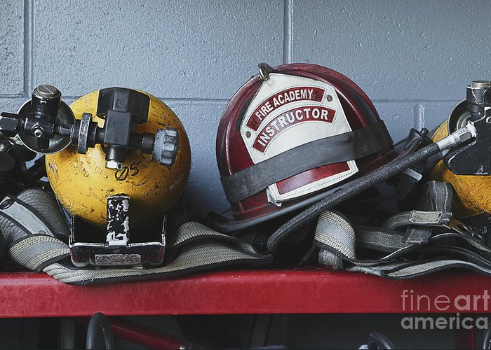 Accomplishment Greeting Card featuring the photograph Fireman Helmets And Gear by Skip Nall
