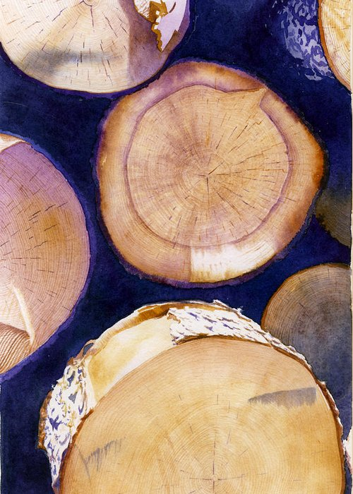 Watercolor Greeting Card featuring the painting Firewood by Richard A Jacobson