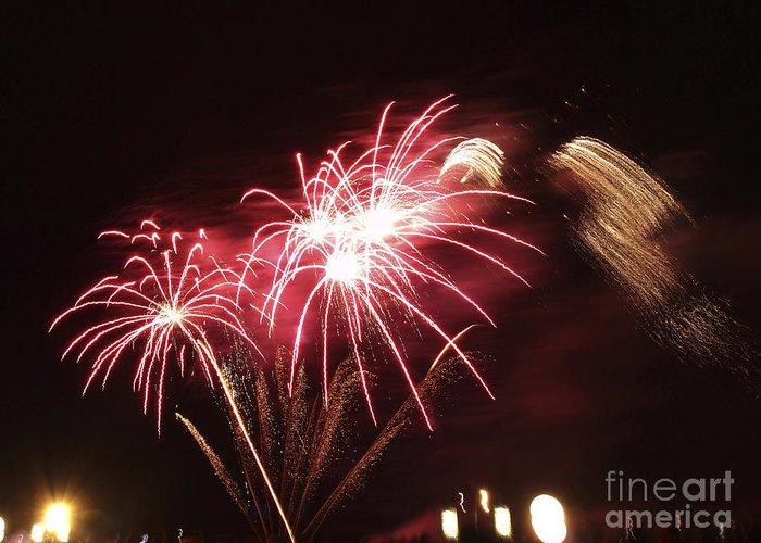 Aglow Greeting Card featuring the photograph Firework Display by Bernard Jaubert