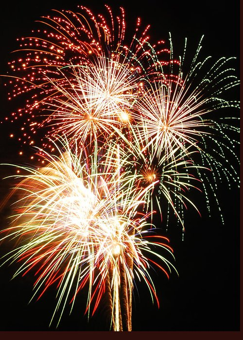 Fireworks Greeting Card featuring the photograph Fireworks 1569 by Michael Peychich