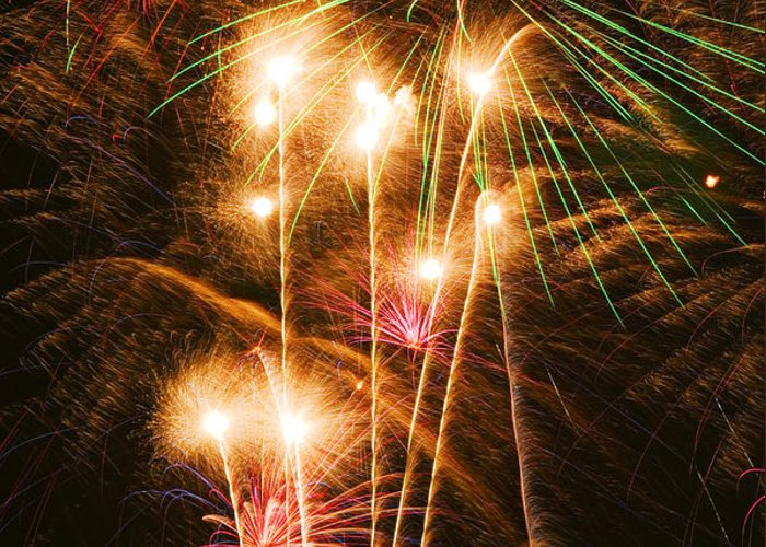 4th Of July Greeting Card featuring the photograph Fireworks In Night Sky by Garry Gay