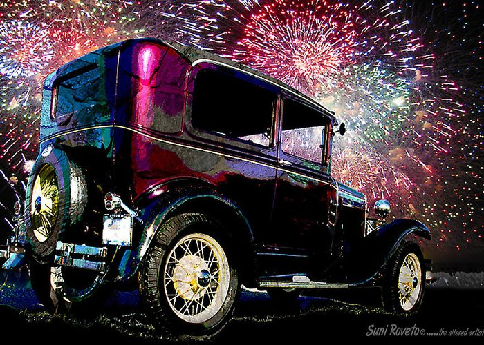 Car Greeting Card featuring the painting Fireworks In The Ford by Suni Roveto
