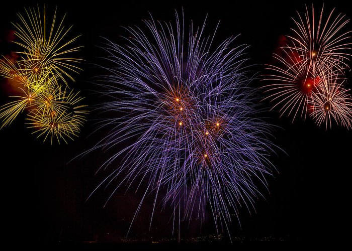 Fireworks Greeting Card featuring the photograph Fireworks by Joana Kruse