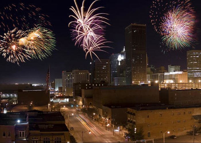 Architecture Greeting Card featuring the photograph Fireworks Over The City by Ricky Barnard