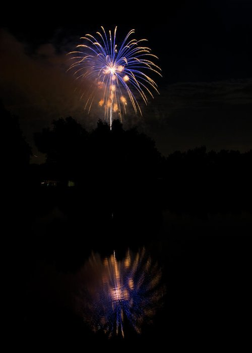 4th Of July Greeting Card featuring the photograph Fireworks Reflection by James BO Insogna
