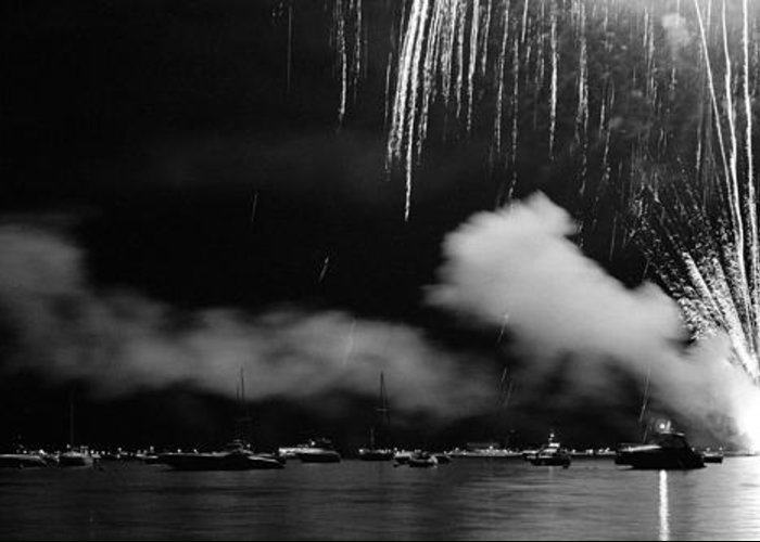 Panoramic Greeting Card featuring the photograph Fireworks Tahoe Ca by Isak Hanold