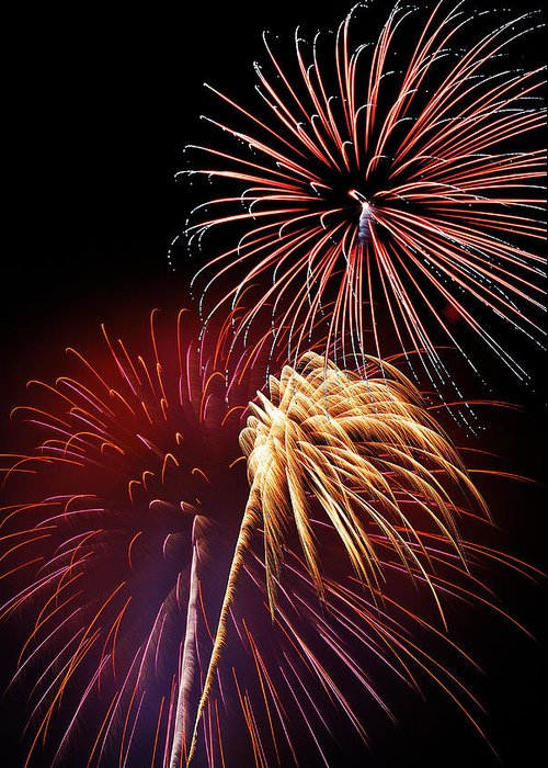 Fireworks Greeting Card featuring the photograph Fireworks Wixom 3 by Michael Peychich
