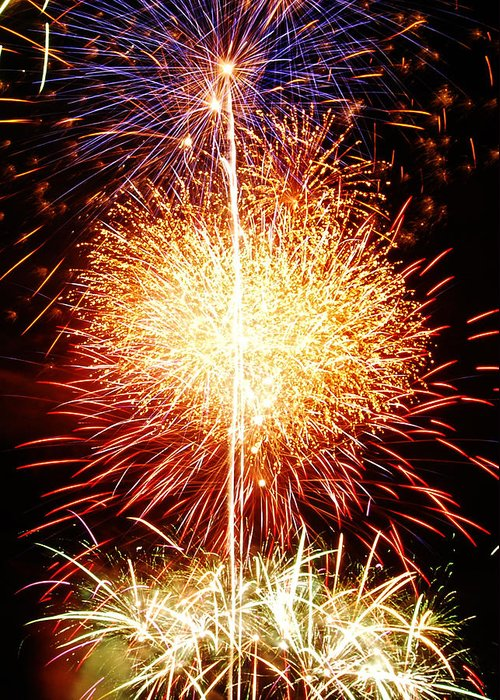 Fireworks Greeting Card featuring the photograph Fireworks_1591 by Michael Peychich