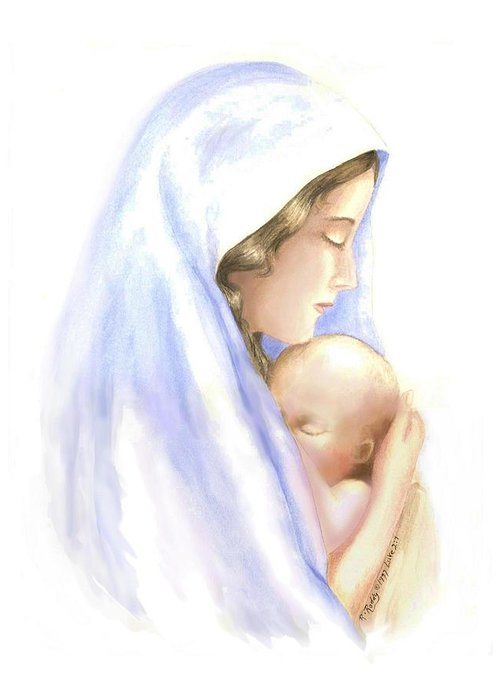 Watercolor Impressionist Portrait Of Mary And Child. Greeting Card featuring the painting First Born by Roberta Roddy