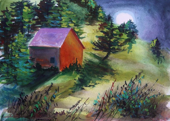 Watercolor Greeting Card featuring the painting First Full Moon Night by John Williams