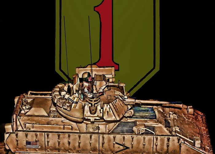 First Infantry Division Greeting Card featuring the digital art First Infantry Division Bradley Fighting Vehicle by Tommy Anderson