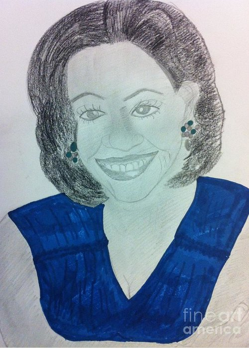 People Greeting Card featuring the drawing First Lady Michelle Obama by Charita Padilla