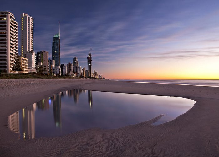 Surfers Paradise Greeting Card featuring the photograph First Light by Renee Doyle