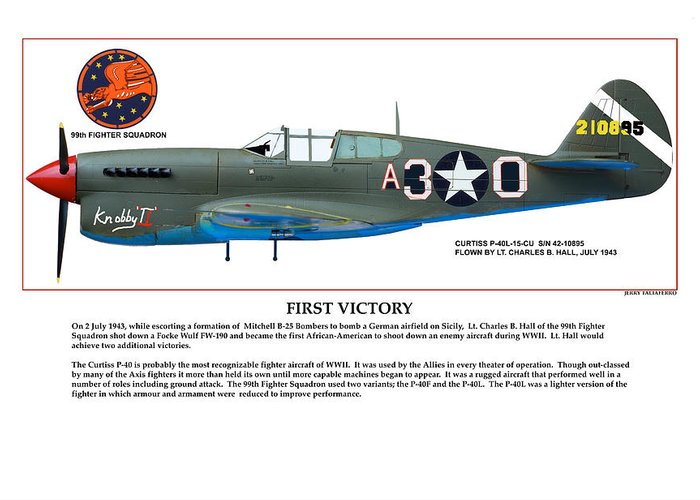 Aviation Greeting Card featuring the digital art First Victory by Jerry Taliaferro