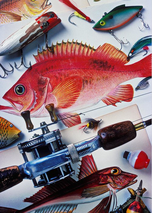 Fishing Lures Bobbers Color Colour Plastic Replica Interest Pass Greeting Card featuring the photograph Fish Bookplates And Tackle by Garry Gay