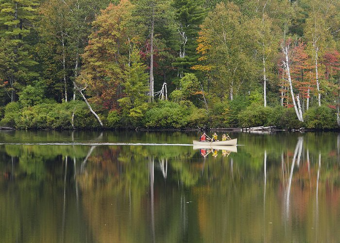 Canoe Greeting Card featuring the photograph Fish Creek Pond In Adirondack Park - New York by Brendan Reals