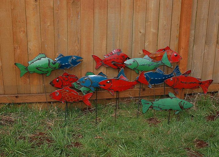 Recycled Fish School Salmon Trout Red Blue Green Water Pond River Stream Lake Canoe Boat Raft Flow Creek Jump Dive Swim Car Classic Rod Pinto Paint Metal Sculpture Art Welding Yard Art Garden Sunny Happy Smile Greeting Card featuring the sculpture Fish From Cars by Ben Dye