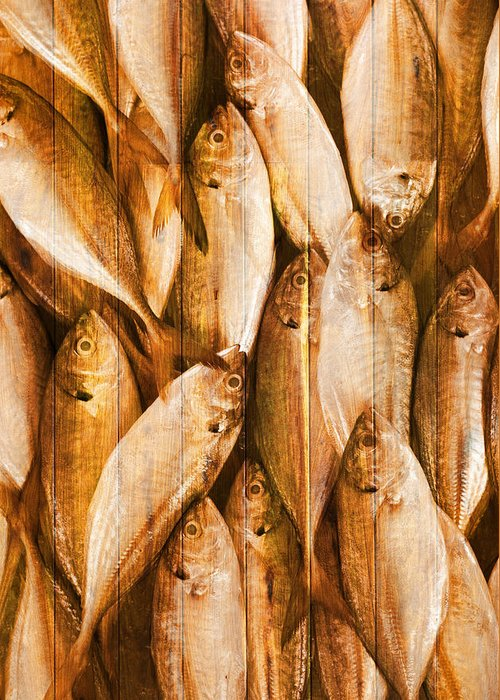 Backdrop Greeting Card featuring the photograph Fish Pattern On Wood by Setsiri Silapasuwanchai