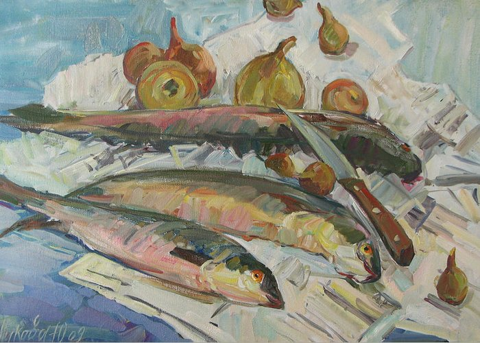 Fish Greeting Card featuring the painting Fish Soup by Juliya Zhukova