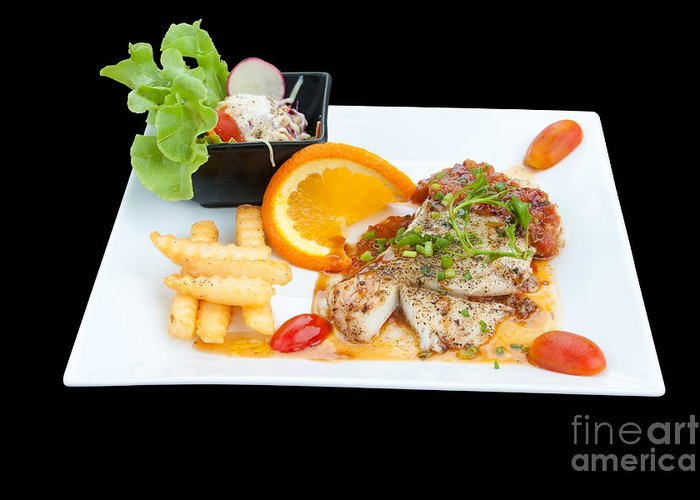 Appetizing Greeting Card featuring the photograph Fish Steak by Atiketta Sangasaeng