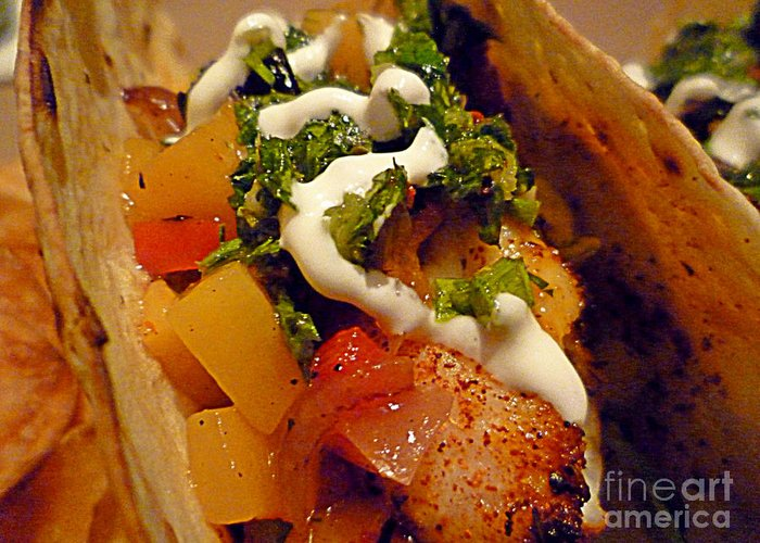 Fish Greeting Card featuring the photograph Fish Taco With Mango Salsa by Renee Trenholm