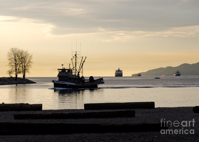Fishing Greeting Card featuring the photograph Fisherman Home Returning To Port From The Inside Passage Vancouver Bc Canada by Andy Smy