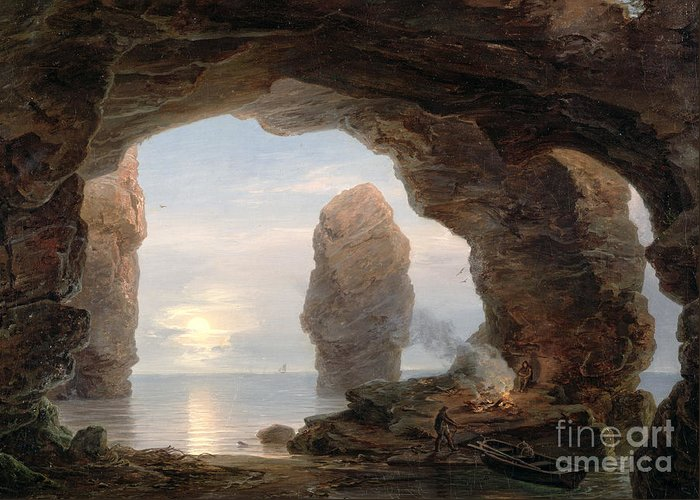 Fisherman In A Grotto Greeting Card featuring the painting Fisherman In A Grotto Helgoland by Christian Ernst Bernhard Morgenstern