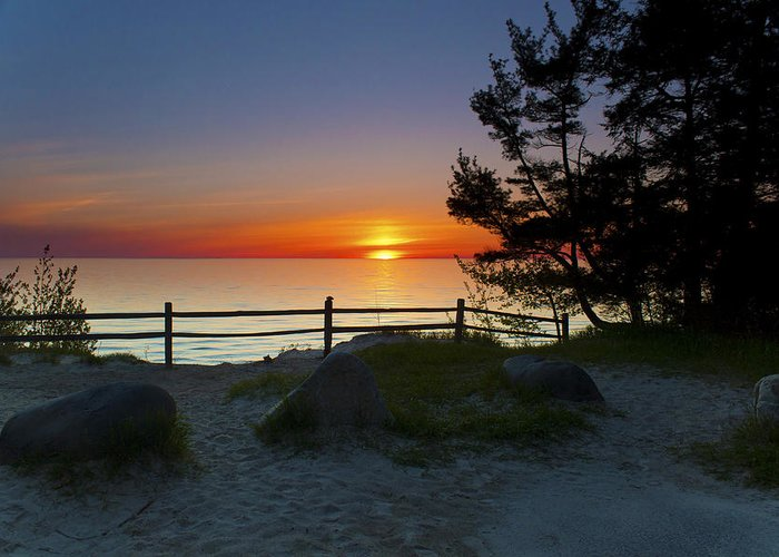 Michigan Greeting Card featuring the photograph Fisherman's Island State Park by Megan Noble