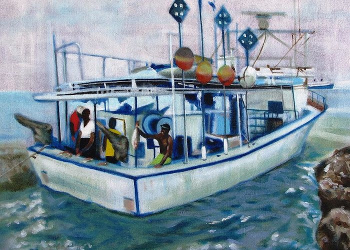 Fishing;boat;water;vacation;recreation;fishermen;aquatic;boat Painting;fishing Painting; Greeting Card featuring the painting Fishermen by Howard Stroman