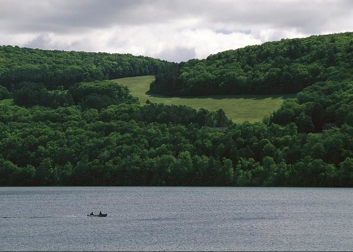 North America Greeting Card featuring the photograph Fishermen On Otsego Lake by Raymond Gehman