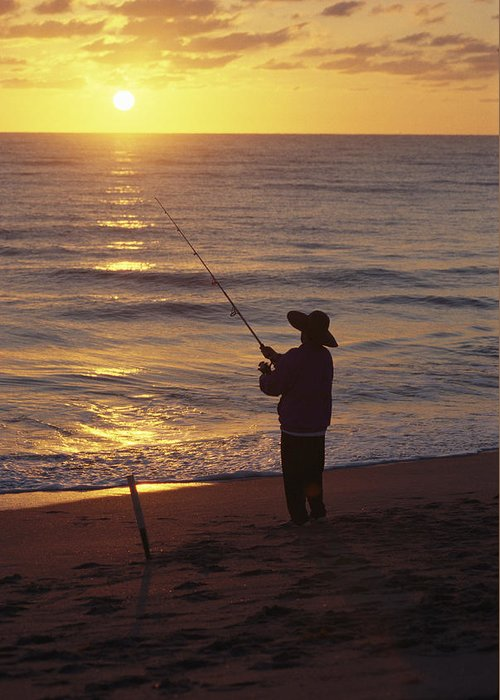 Hobe Sound National Wildlife Refuge Greeting Card featuring the photograph Fishing At Sunrise by Raymond Gehman