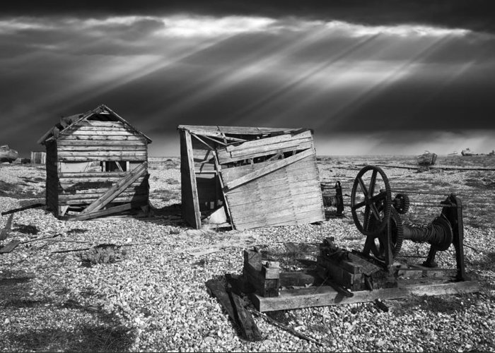 Boat Greeting Card featuring the photograph Fishing Boat Graveyard 4 by Meirion Matthias