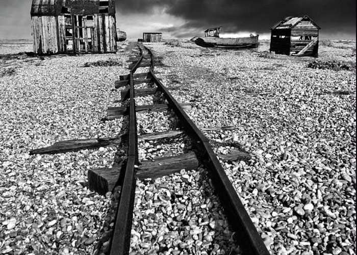 Black And White Greeting Card featuring the photograph Fishing Boat Graveyard 6 by Meirion Matthias