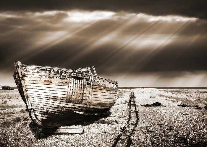Boat Greeting Card featuring the photograph Fishing Boat Graveyard 9 by Meirion Matthias