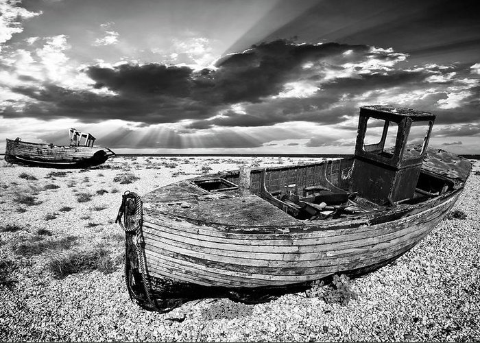 Boat Greeting Card featuring the photograph Fishing Boat Graveyard by Meirion Matthias