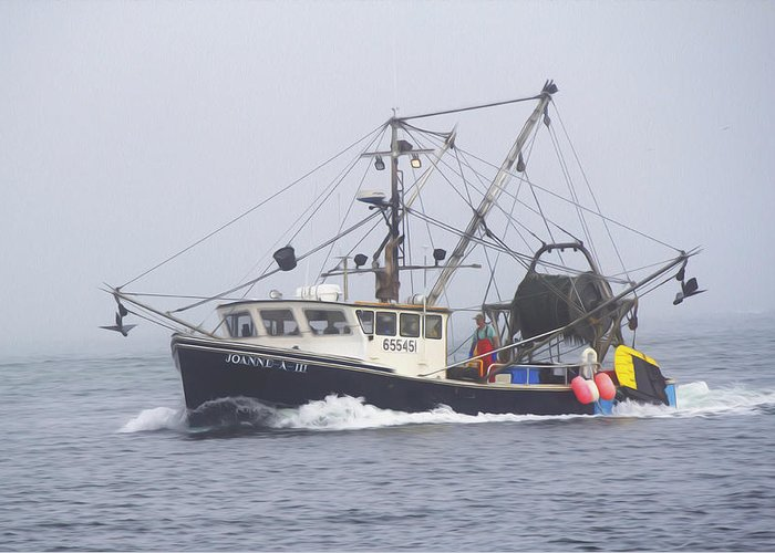 Boat Greeting Card featuring the photograph Fishing Boat by Michel DesRoches