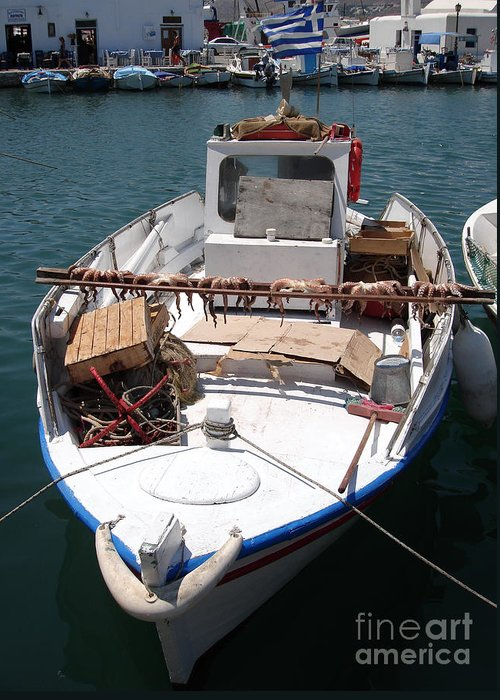 Aegean Greeting Card featuring the photograph Fishing Boat With Octopus Drying by Jane Rix