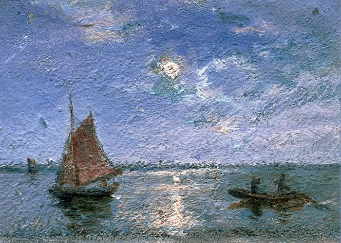 Fishing Boats By Moonlight Greeting Card featuring the painting Fishing Boats By Moonlight by Alfred Wahlberg